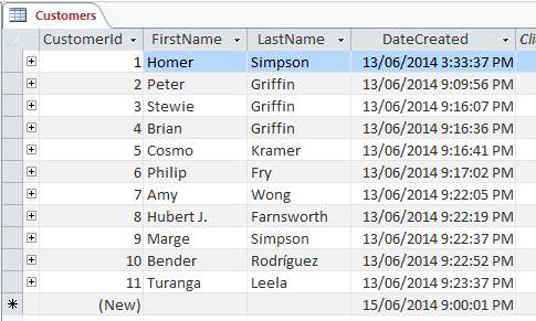 Image of sample database table showing customers