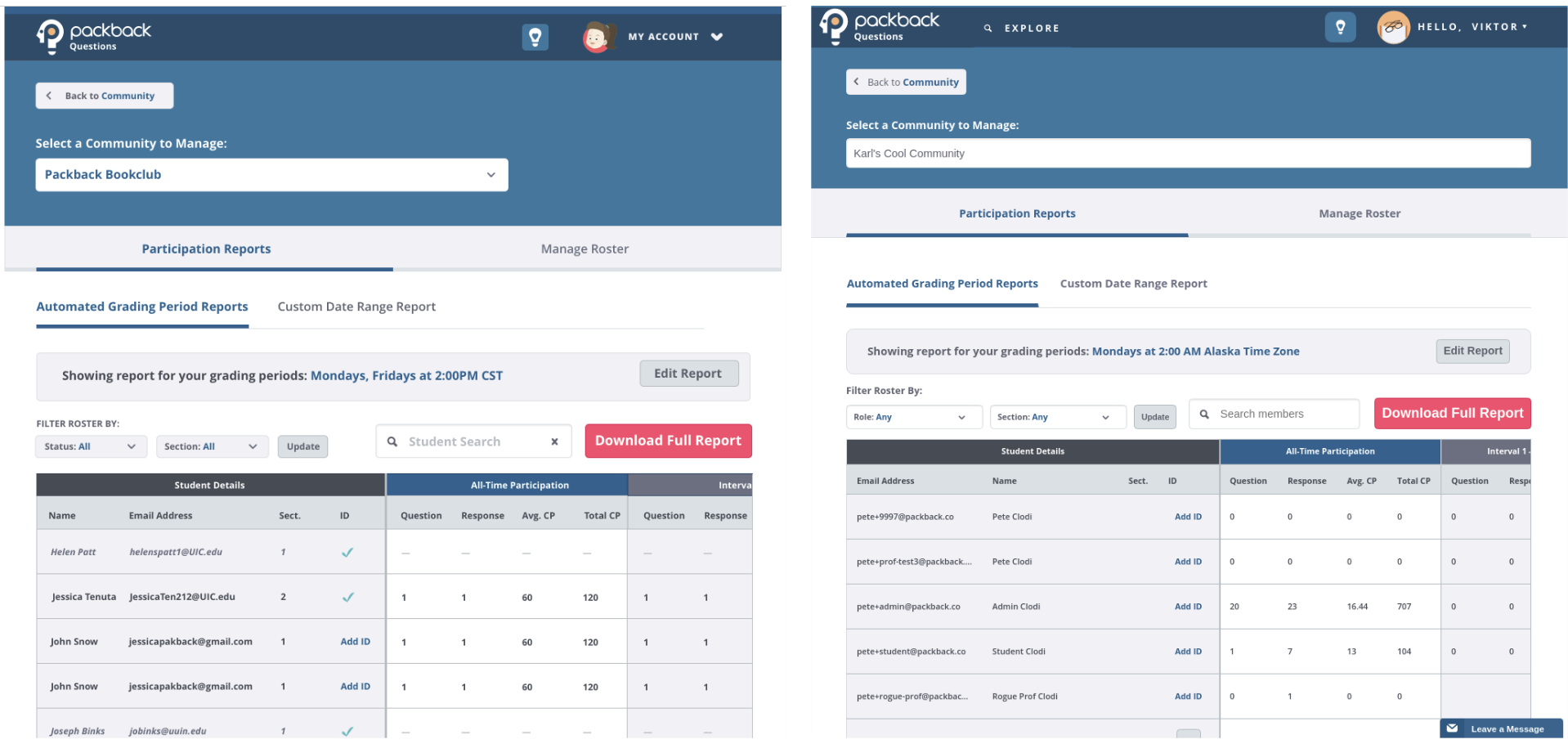 Screenshot of gradebook page next to almost identical design for it